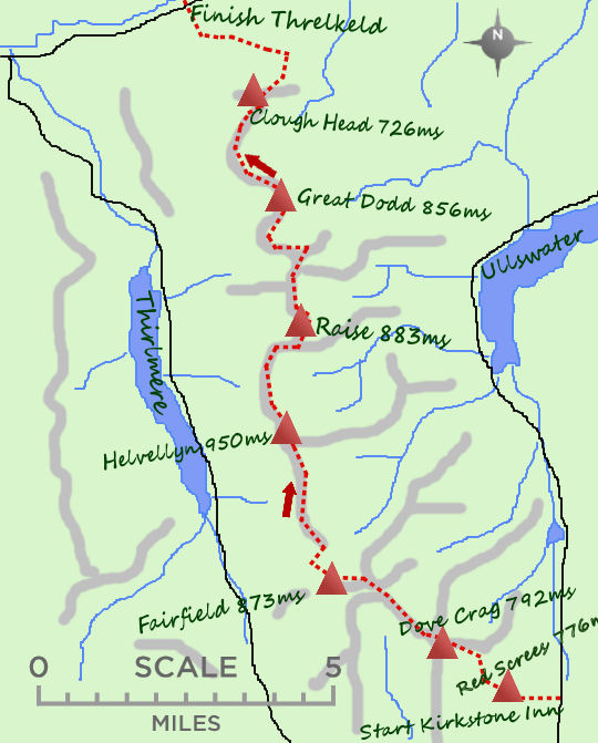 Kirkstone to Threlkeld map