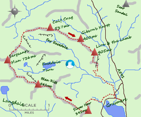 Fells over Grasmere map