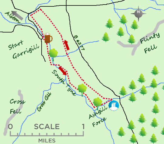 Ashgill Force at Garrigill map
