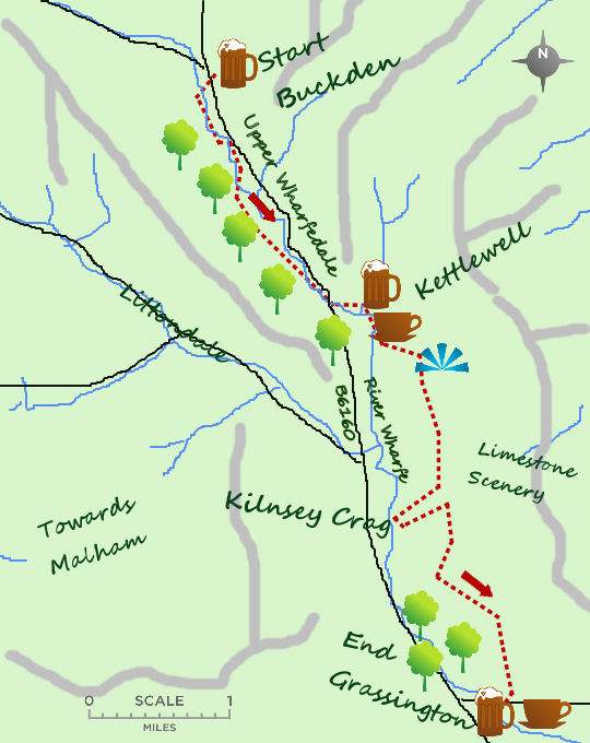 Buckden to Grassington map