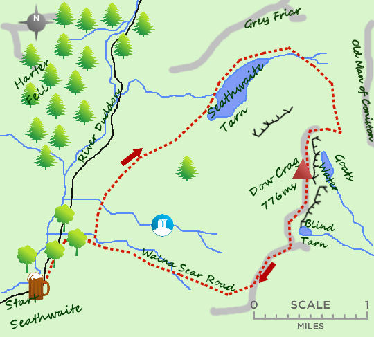 Dow Crag & Seathwaite Tarn map