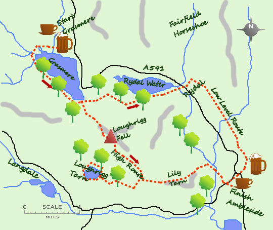 Grasmere to Ambleside map