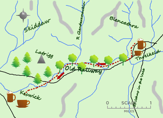 Threlkeld to Keswick map