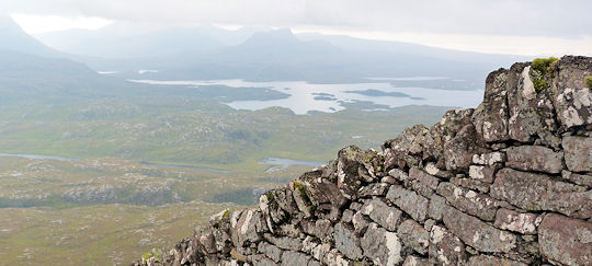 Wall on summit ridge of Suilven