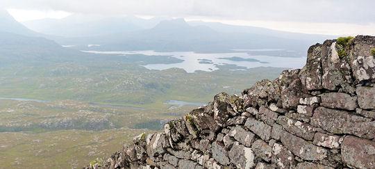 Wall on summit ridge of Suilven
