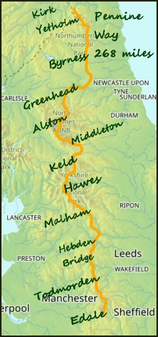 Pennine Way map