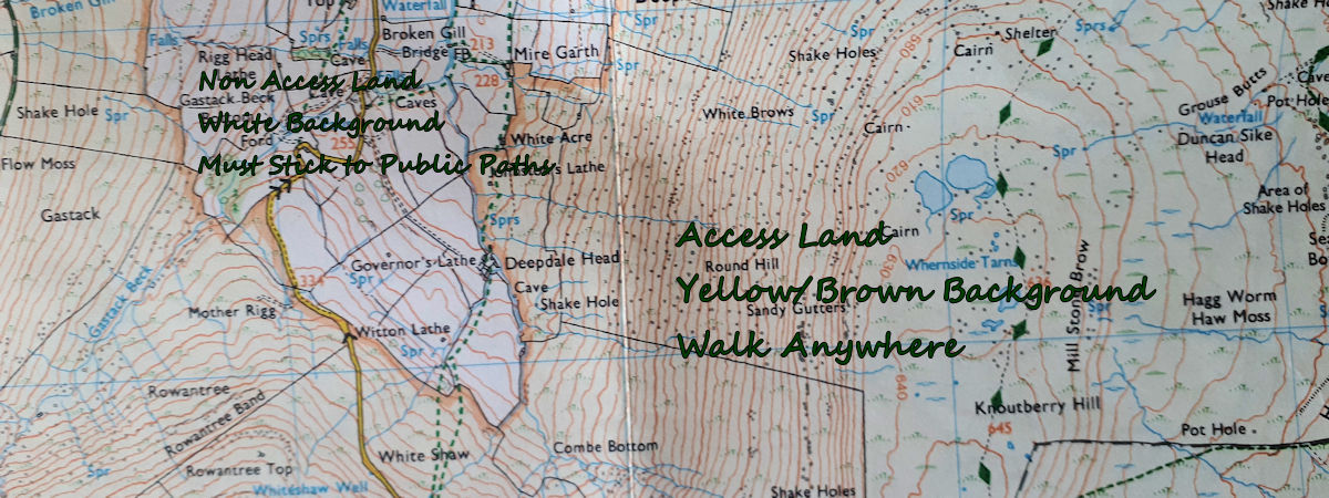 1.25,000 scale map of Whernside area showing Access Land