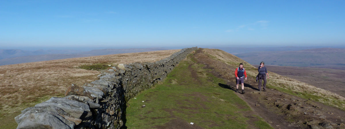 Walkers on the summit ridge of Whernside